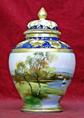 Superb Antique Noritake Porcelain Vase & Cover, Hand-Painted Scenes, Marked