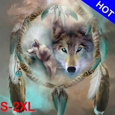 DIAMOND PAINTING//DOTS ELECTRIC BLUE-EYED WOLF 3D FULL ROUND DRILL 30CM X 40CM