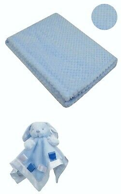 Personalised  embroidered BABY WAFFLE BLANKET gift set 3 color SUPER SOFT bunny