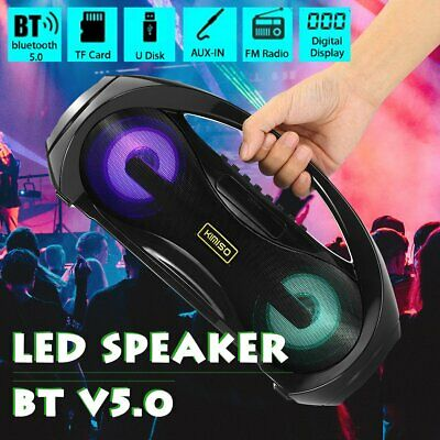 Portable 10W Wireless bluetooth Speaker LED Amplifier Boombox Stereo Subwoofer ☆