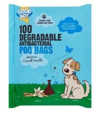 Doggy Poo Bag Antibacterial Eco BioDegradable Scented Dog Poop 100pk