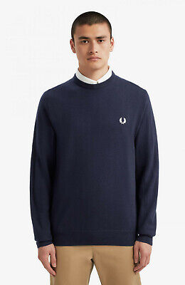 Fred Perry Classic Crew Neck Jumper In Carbon Blue RRP £100 Sizes M-L