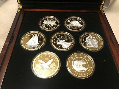 Canada 2019 Big Coin Series - 5 oz. Pure Silver Reverse Gold Plating 7-Coin Set