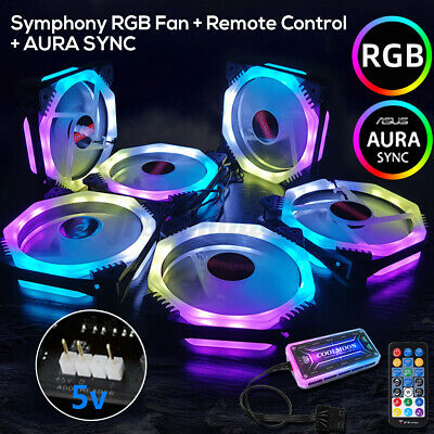 6 Pack RGB LED Quiet Computer Case PC Cooling 120mm Fan with 1 Remote Control AU