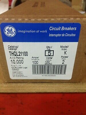 GE THQL21100 100AMP 120//240V 2POLE  BOX 5 BREAKERS NEW IN FACTORY BOX