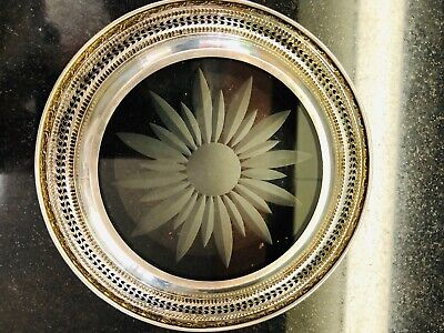 """Talisman Rose by Frank Whiting Sterling Silver Etched Glass 6 1/2"""" Plate (#1658)"""