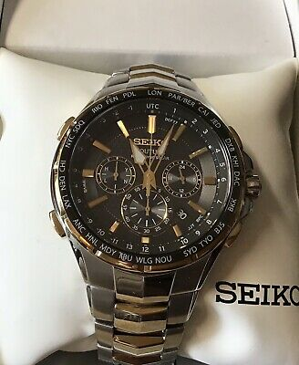 Seiko Coutura Radio Sync Solar Chronograph Two Tone Mens Watch