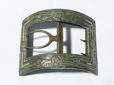 Antique Single 19thC Wide Silvered Steel Shoe Buckle 2 Way Hinged Chape  #B10