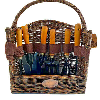 Vintage Set Of Six Gardening Hand Tools In A Willow Wicker Basket With Handle