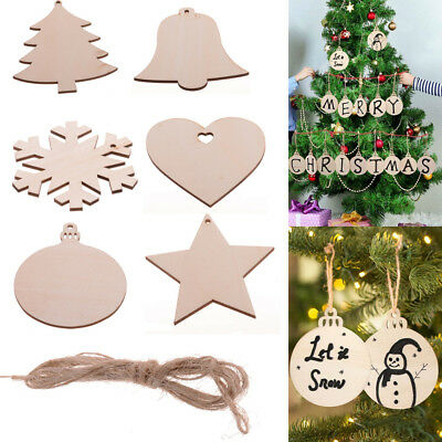 100Pc Wooden MDF Wood Craft Shapes Christmas Tree Hanging Decoration Ornament