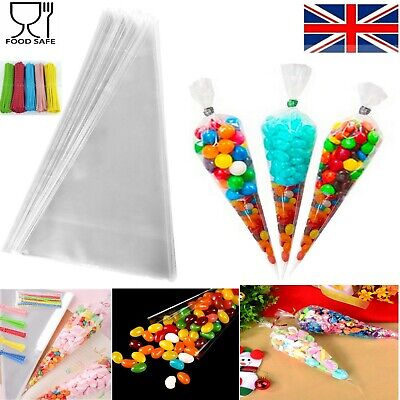 SWEET CONE BAGS CELLOPHANE Party Clear Candy Medium Kid Gift Favour Wedding Ties