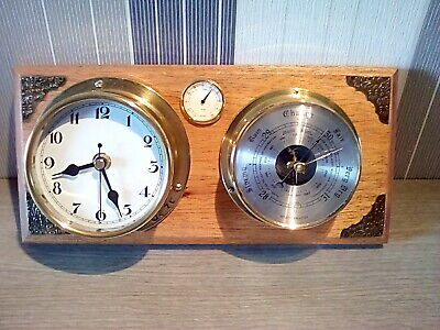 Vintage style ships type brass wall clock and barometer