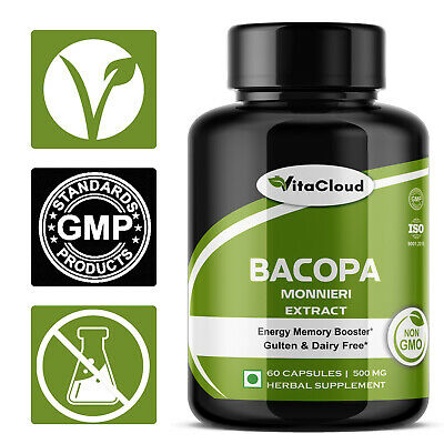Bacopa Monnieri Extract 20% Bacosides Memory Boosts Brahmi 60 Caps - PURE HERB