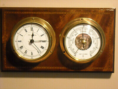 Quality Vintage Comitti of London Ships Style Wall Mounted Clock and Barometer