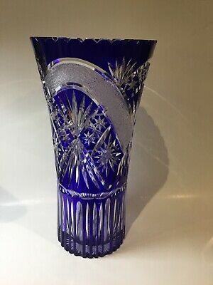 Cobalt Blue Large Handcut Crystal Vase