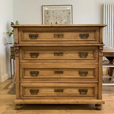 ANTIQUE PINE CHEST OF DRAWERS Large 4 Drawer Victorian Continental With Keys