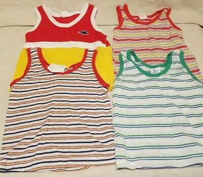 Vintage 1980s Lot Of 4 Boys Tank Tops Striped