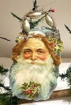 Blue Suited Santa Claus Head, with Holly. Glass Bead, Tinsel & Paper Christmas