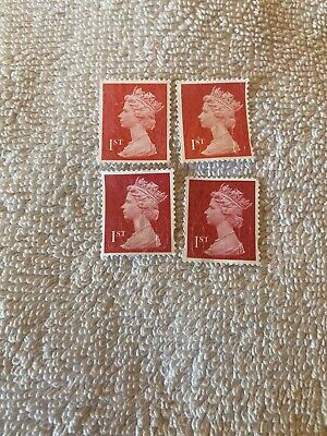 1st Class Unfranked Stamps Red  Off Paper No Gum X100 All Got Security Tabs