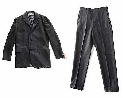 Teen Boys Size 14 Suit - 1960s Gray Wool Jacket Sport Coat & Stovepipe Pant NOS