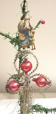 Blue Suited Santa with Victorian Girl. Glass Beads, Tinsel & Paper Christmas