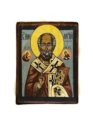 Nicholas the Wonderworker Russian Orthodox Christian Antique Style Wood Icon