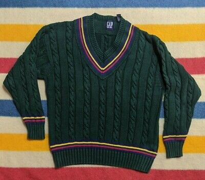 VTG 90s GAP Pine Green Cable Knit Pullover V-Neck Tennis Sweater L