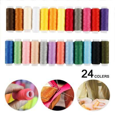 24x POLYESTER COTTON SEWING THREAD -YARN/SPOOL/REEL -MIXED/ASSORTED/COLOUR UK