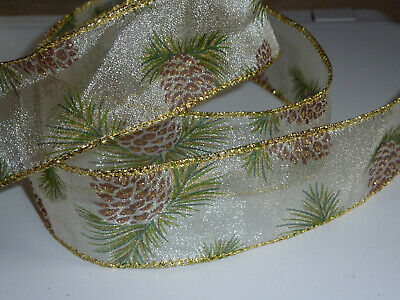 Vintage Sheer Pinecone 38mm Wide Wired  Ribbon Cakes Bows Decoration 1m