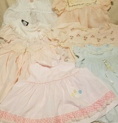 Vintage Lot Of 7 Baby Girls Dresses Doll
