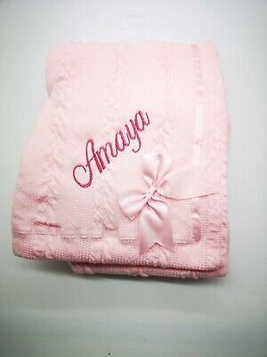 Personalised Luxury Baby Cable BOW RIBBON  Blanket Embroidered Boy Girl Gift