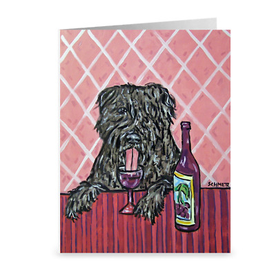 bouvier des flandres wine art print note card, greeting card, animal stationary