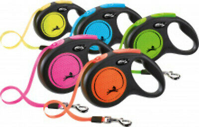FLEXI Retractable Extending Dog Lead Reflective NEON Cord / Tape All Sizes All C