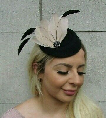 Black & Beige Feather Pillbox Hat Hair Clip Fascinator Nude Headpiece Races 0662