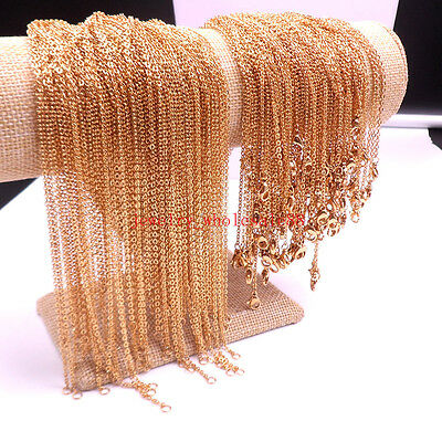 18''/20'' Lot Gold Stainless Steel Strong joint Oval Link Chain Necklace Women
