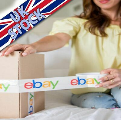2 x ROLLS! 4-Colour eBay Branded Extra-Strong Parcel Packing Packaging Tape 132M
