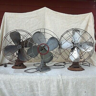 Vintage Lot of Westinghouse and Emerson Four Blade Electric Fans Working US Navy
