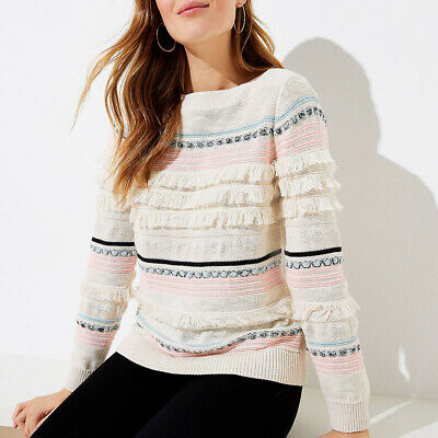 NEW ANNE TAYLOR LOFT $129 fringe detail crew sweater L soo