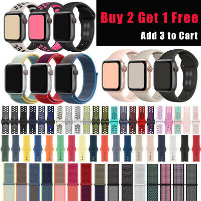 For Apple Watch Band Silicone Nylon Sport Loop Strap iWatch 38mm 40mm 42mm 44mm