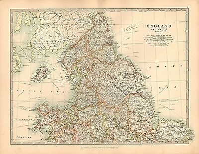 1911 LARGE VICTORIAN MAP ~ ENGLAND & WALES NORTHERN SHEET YORK DURHAM DERBY etc