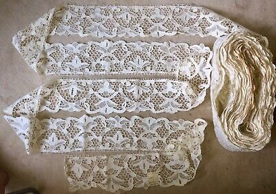 """2o yds x2.1//2""""Antique Hand Made Needle Lace Early 20thC-MIN.3 YARD PURCHASE 1041"""