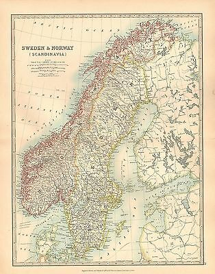 1911 Large Victorian Map ~ Sweden & Norway Scandinavia Gothland Svealand