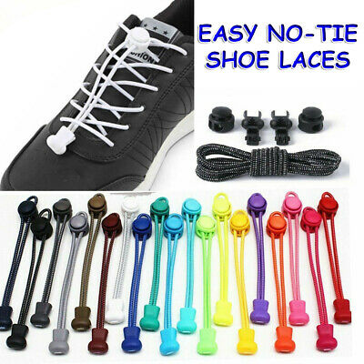Shoelaces Elastic Shoe Lace Easy Lock No Tie Kids Adult Lazy Trainers Rubber UK