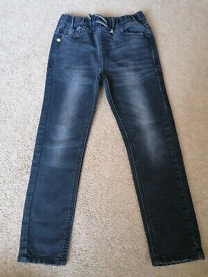 Next Boys Skinny Leg Jeans Black Distressed Age 7 Years Soft Good Condition