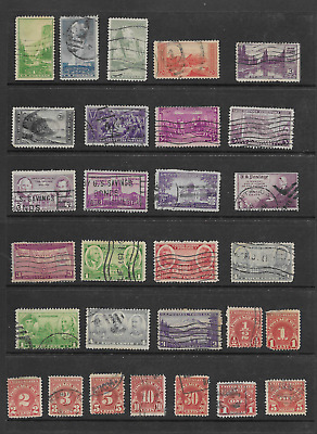 Vintage Group of 29 Used U. S. Stamps  Including Postage Due (Lot # 99)
