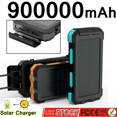 900000mAh Solar Power Bank Charger Battery Pack Portable USB For Mobile Phone UK