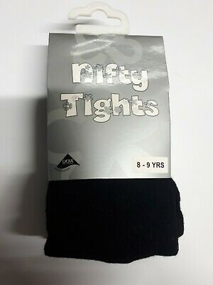 Children's Girls Cotton Lycra Rich School Nifty Tights Ages 8 - 9 Years Black
