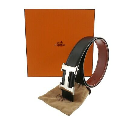 Auth HERMES Constance Reversible H Buckle Belt Black B in Square (1998) #f09579