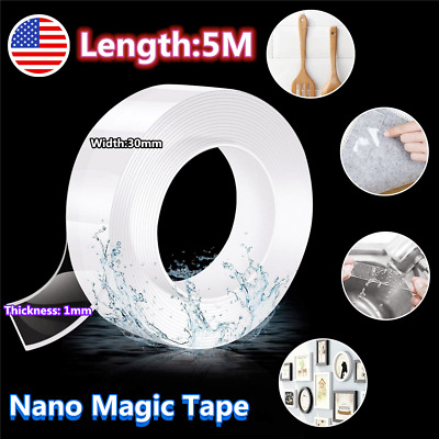 16.5ft Nano Magic Tape Double-Sided Traceless Washable Invisible Gel 3CM*1MM*5M