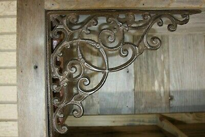 Huge Victorian Shelf Brackets 13 inch Cast Iron, Decor B-2
